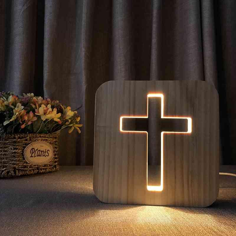 Usb 3d Glow Wood Jesu Cross Christiana