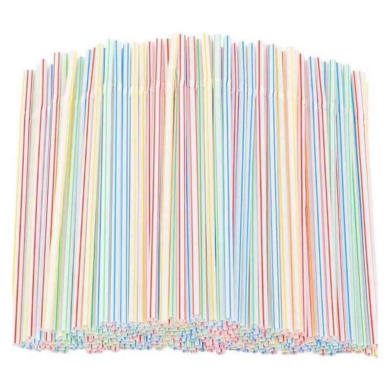 Flexible Plastic- Disposable Striped Straws