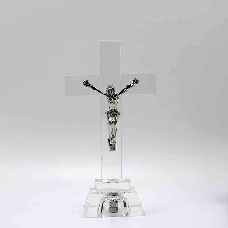 Nightlight Crystal Jesus Cross Statue Religious Style Crystal Cross