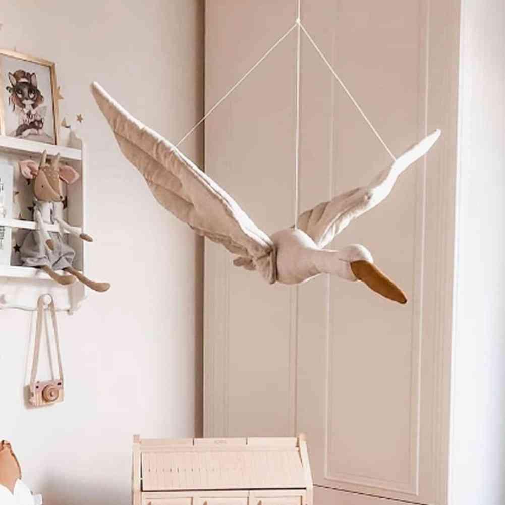 Wall Hanging Swan Plush Stuffed Doll Nursery Room Pendant Home Bedroom Decoration Ornament