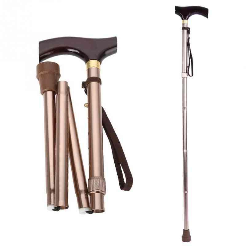 Wooden Handle Foldable- Elderly Safety Guide, Blind Cane Crutch, Walking Stick