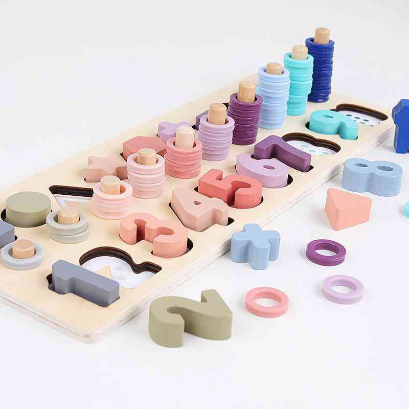 Preschool Wooden Montessori Geometric Shape Cognition Match Educational