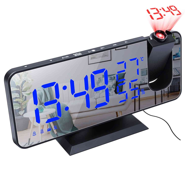 Led Digital Alarm, Watch Table- Electronic Desktop, Usb Wake-up, Fm Radio, Time Projector Function