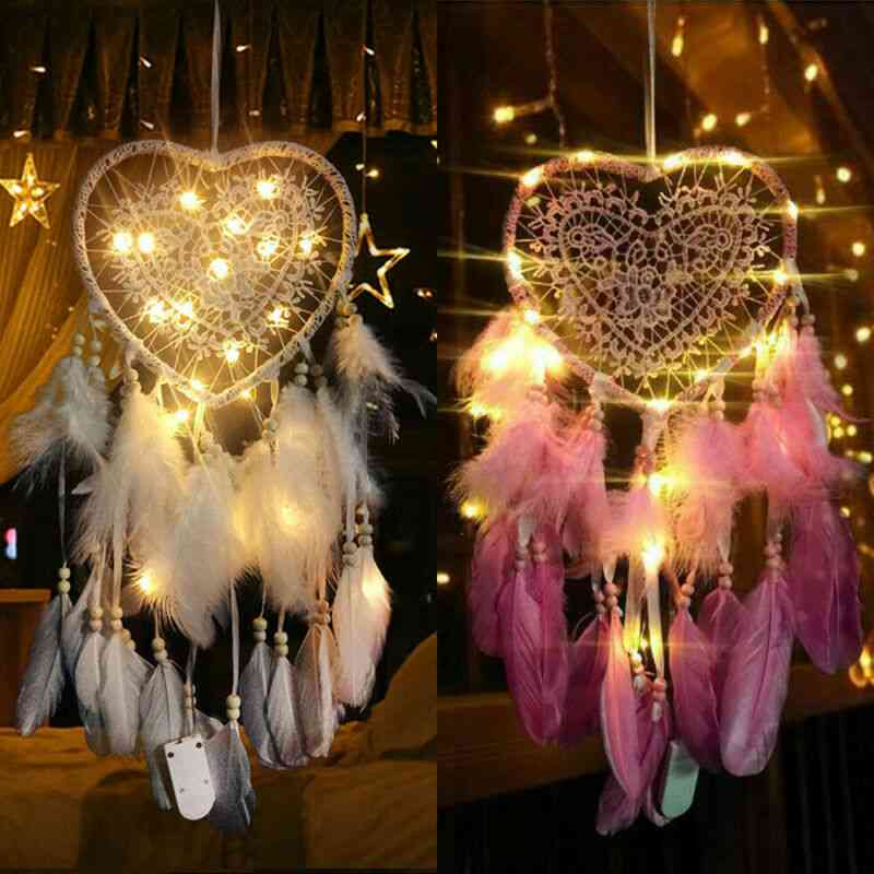 Fancy Dream Catcher With Led String Hollow Hoop Pendant Feathers Handmade