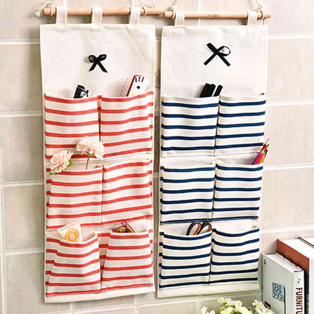 6/8 Pockets Stripe, Closet Wall Hanging, Cotton Linen Wardrobe, Storage Bag
