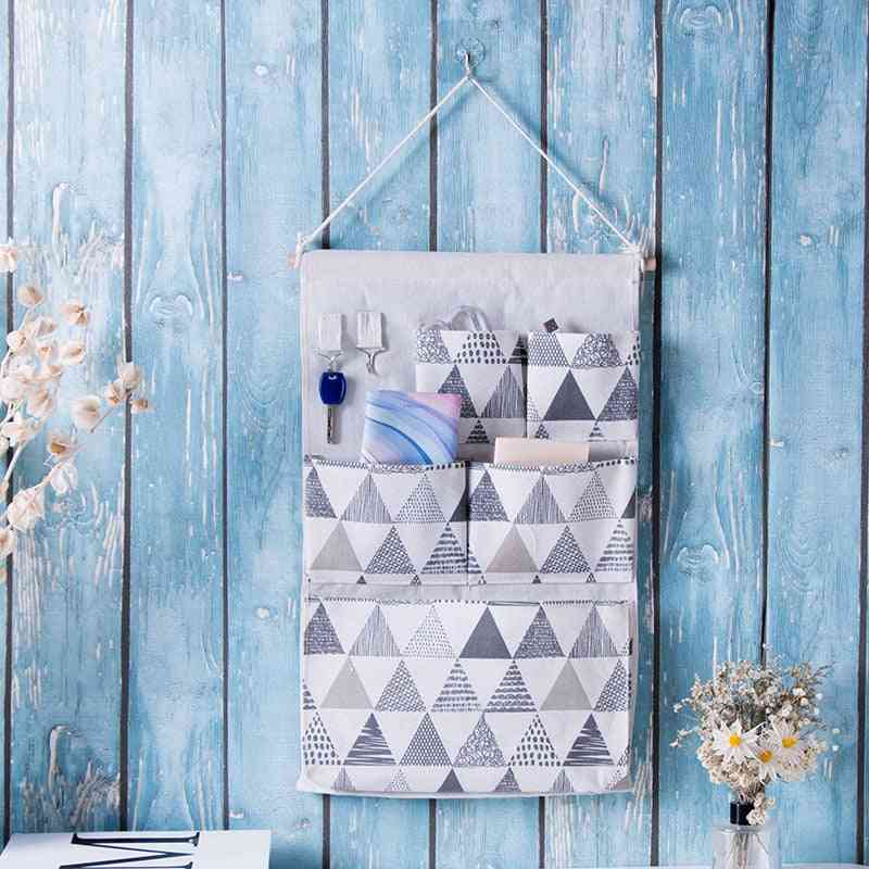 Wall Hanging, Storage Bag- Door Organizer With 5 Pocket And Key Hook