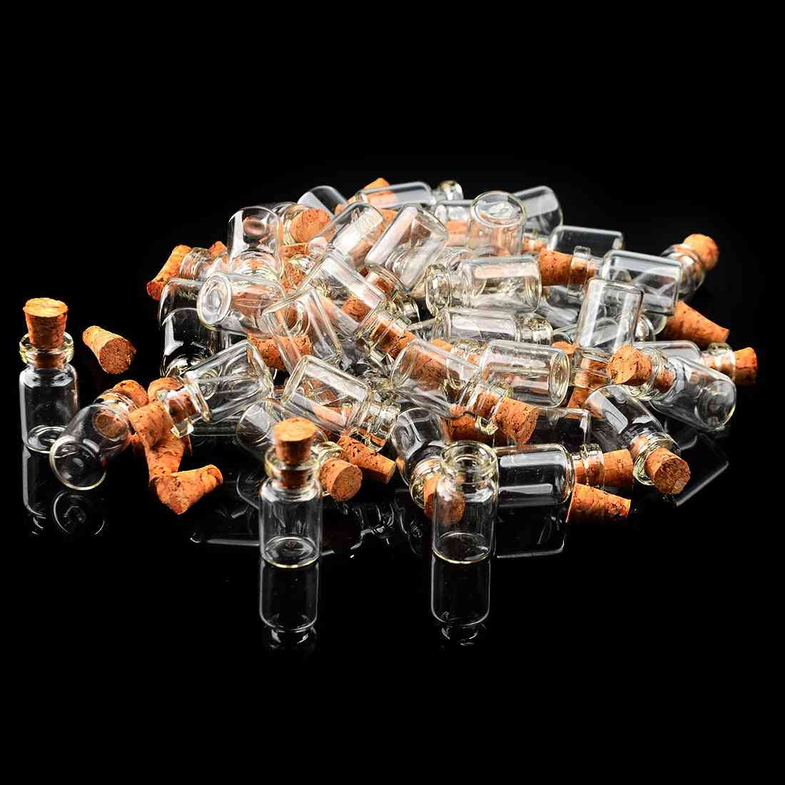 Small Clear Glass, Wish Bottle, Vials Empty Jars With Cork Stopper (50pcs)