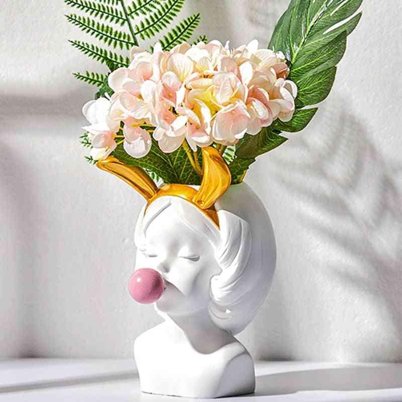 White Resin Vase Flower Pot