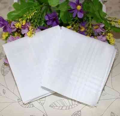 Pure White Handkerchiefs 100% Cotton (white)