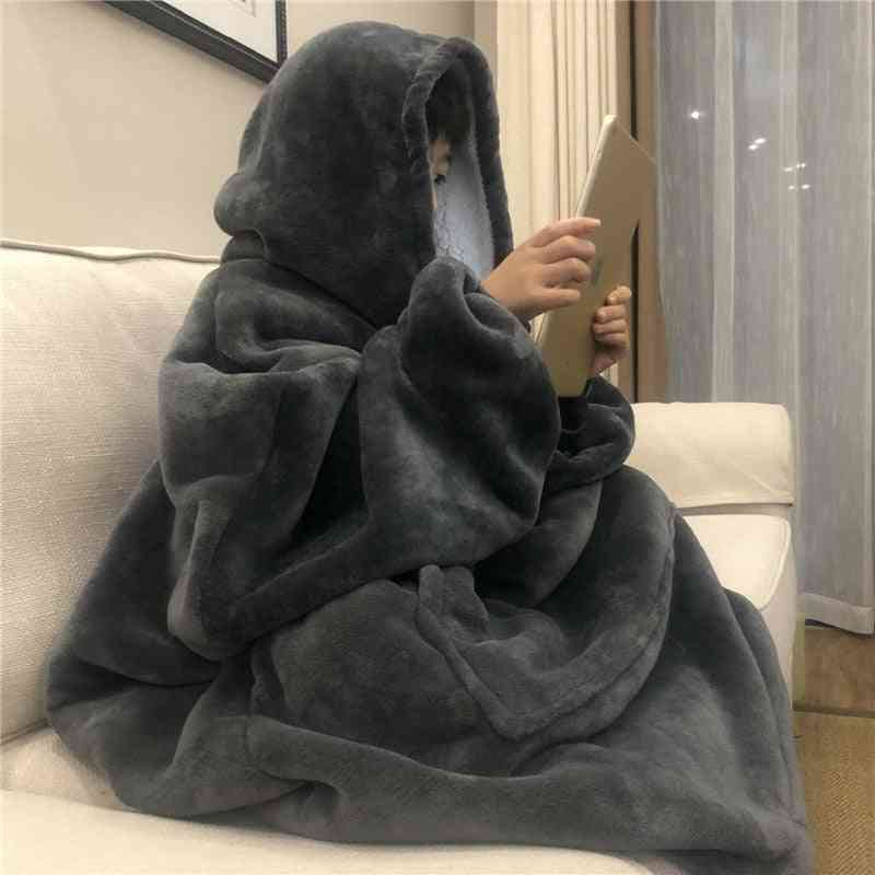 Sofa Cozy Coral Fleece Hoodie Blanket Adults Kids