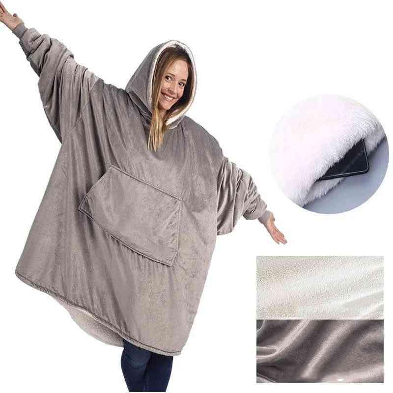 Fleece Blanket With Sleeves Outdoor Hooded