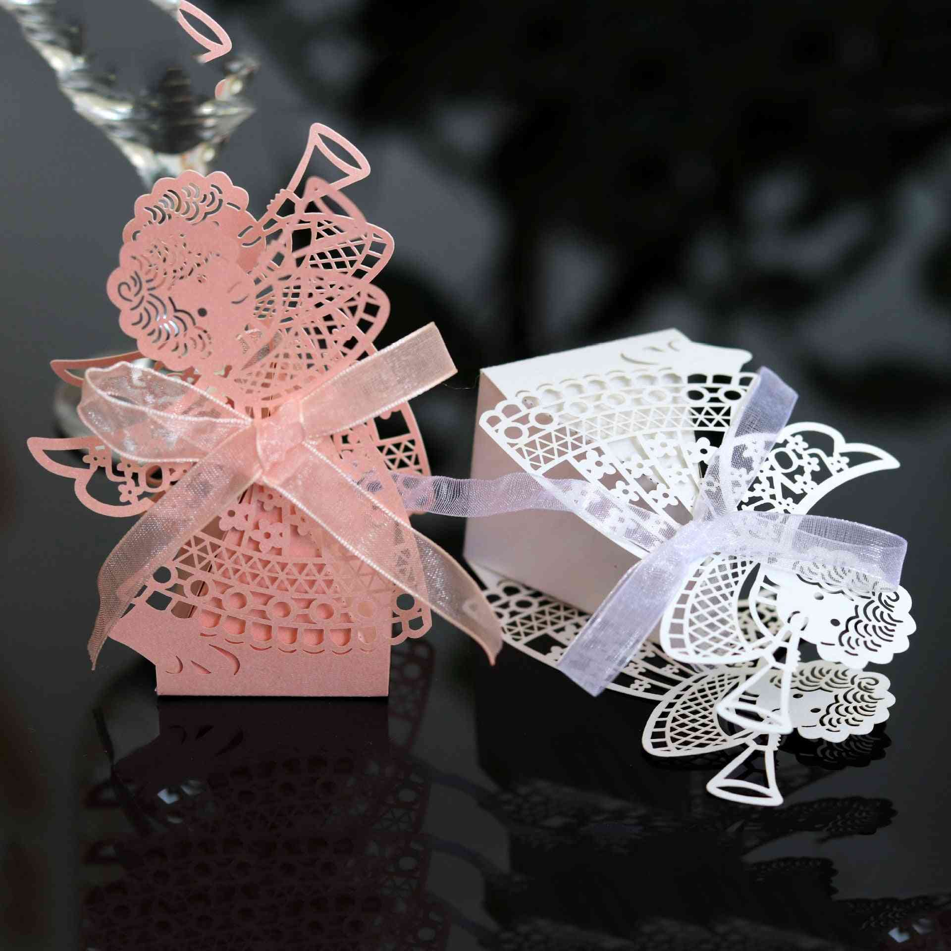 Angel Girl Laser Cut Hollow Carriage Favor Candy Boxes With Ribbon