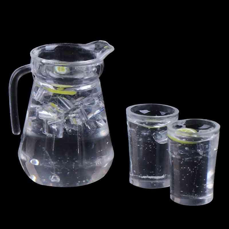 Simulation Mini Juice Jug Cup Set Drink Milk Model For Doll House Decoration Accessories