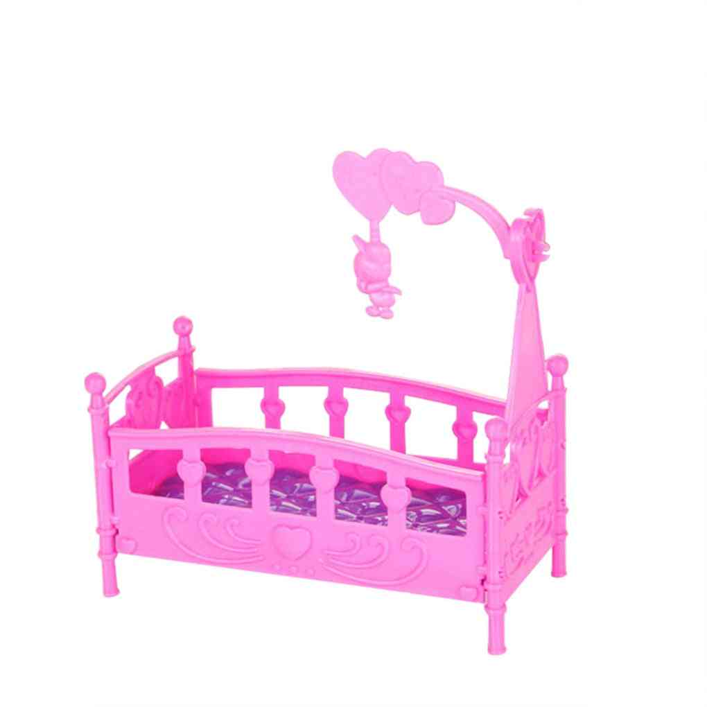 Rocking Cradle Bed Doll House Toy Furniture For Kelly Barbie Doll Accessories Baby Shower (10x10x5.5cm Pink)