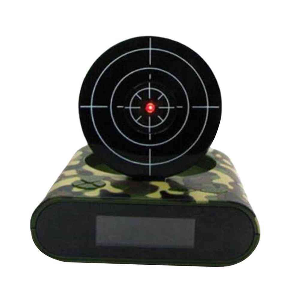 Creative Lazy Led  Display Digital Mute Infrared Induction Target Shooting Alarm Clock