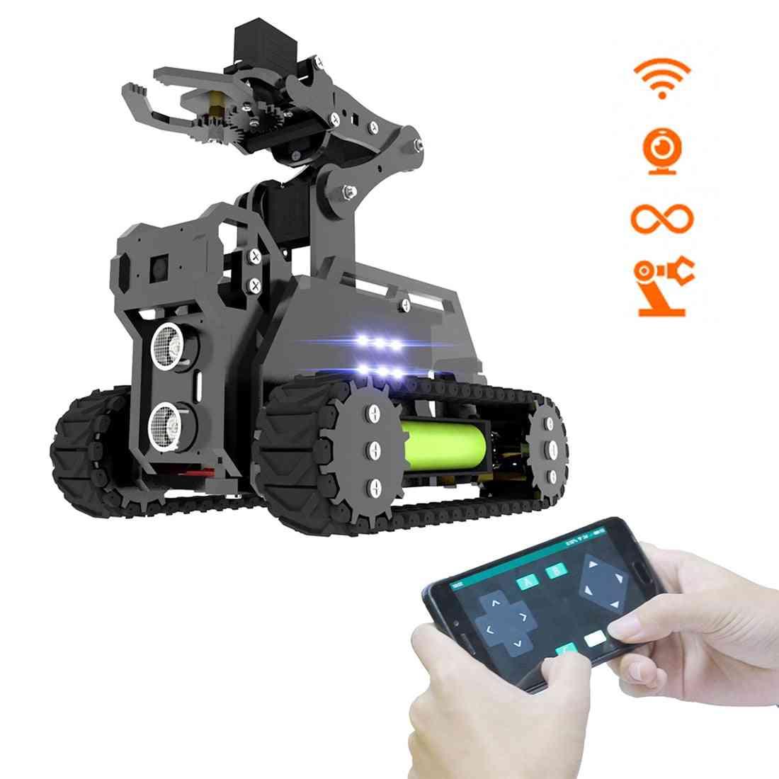 Wifi Wireless- Smart Robot Car Kit- Tank 4-dof Robotic Arm, Target Tracking, Video Transmission