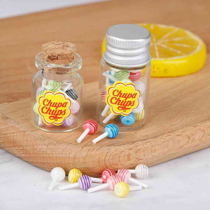 Mini Lollipops With Case Holder Candy For Doll House Kitchen Furniture