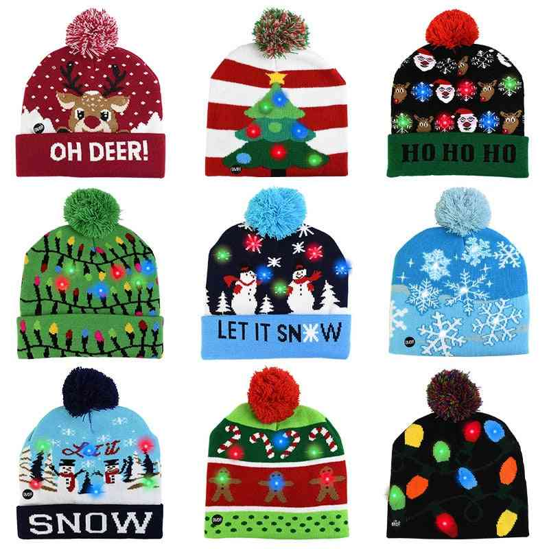 Led Hat Sweater Knitted Beanie Christmas Light Up Cap