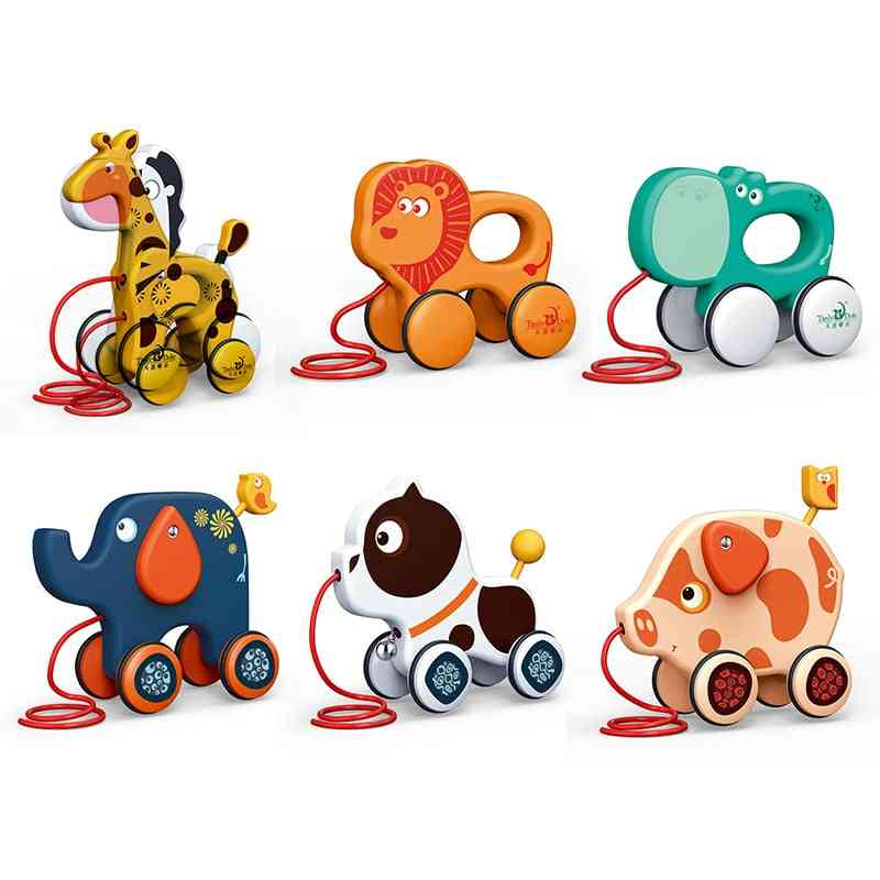 Cartoon Animal Trailer Toddler Traction Hand-drawn String Pull Rope