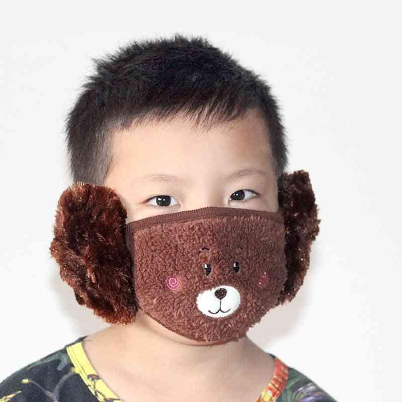 Winter Plush Cartoon Ear Protectors Cotton Bear Student Warm Earmuffs Warm Mouth Cover