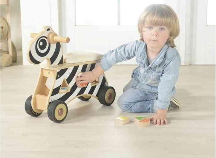 Children Wooden, Ride-on Shape Sorter Zebra Baby Walker Educational Toy