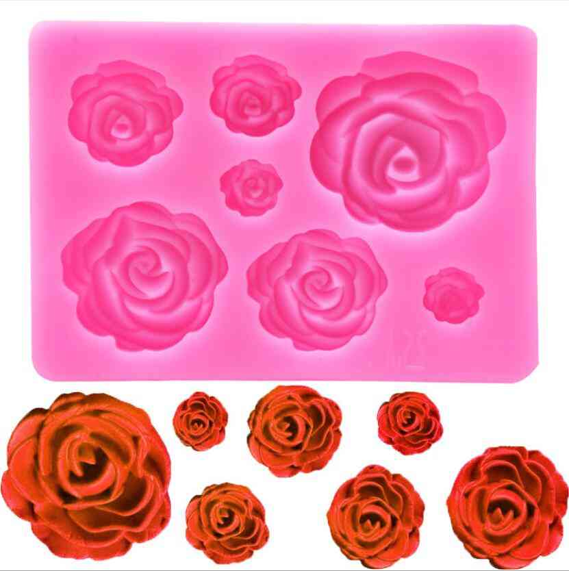 Rose Flower- Silicone Molds, Cupcake Topper Fondant, Cake Decorating Tool
