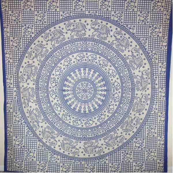 Blue Baby Elephant - Chakra Mandala Tapestry