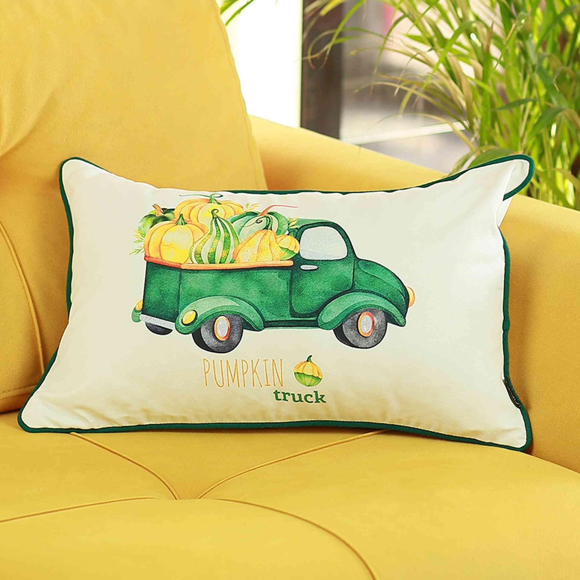 Fall Season Green Pumpkin Truck - Pillow Cover (set Of 4)