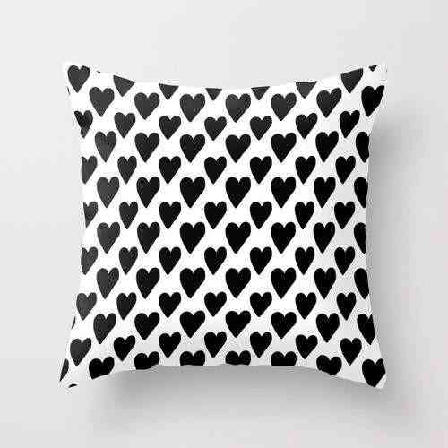 Black And White Hearts Pillow Cover