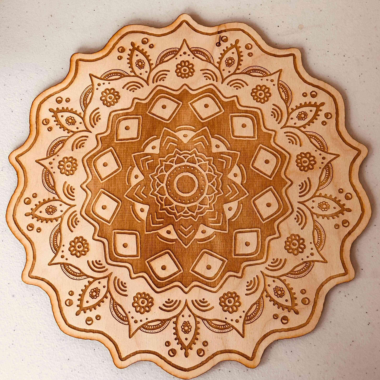 Mandala Crystal Grid - Birch Wood