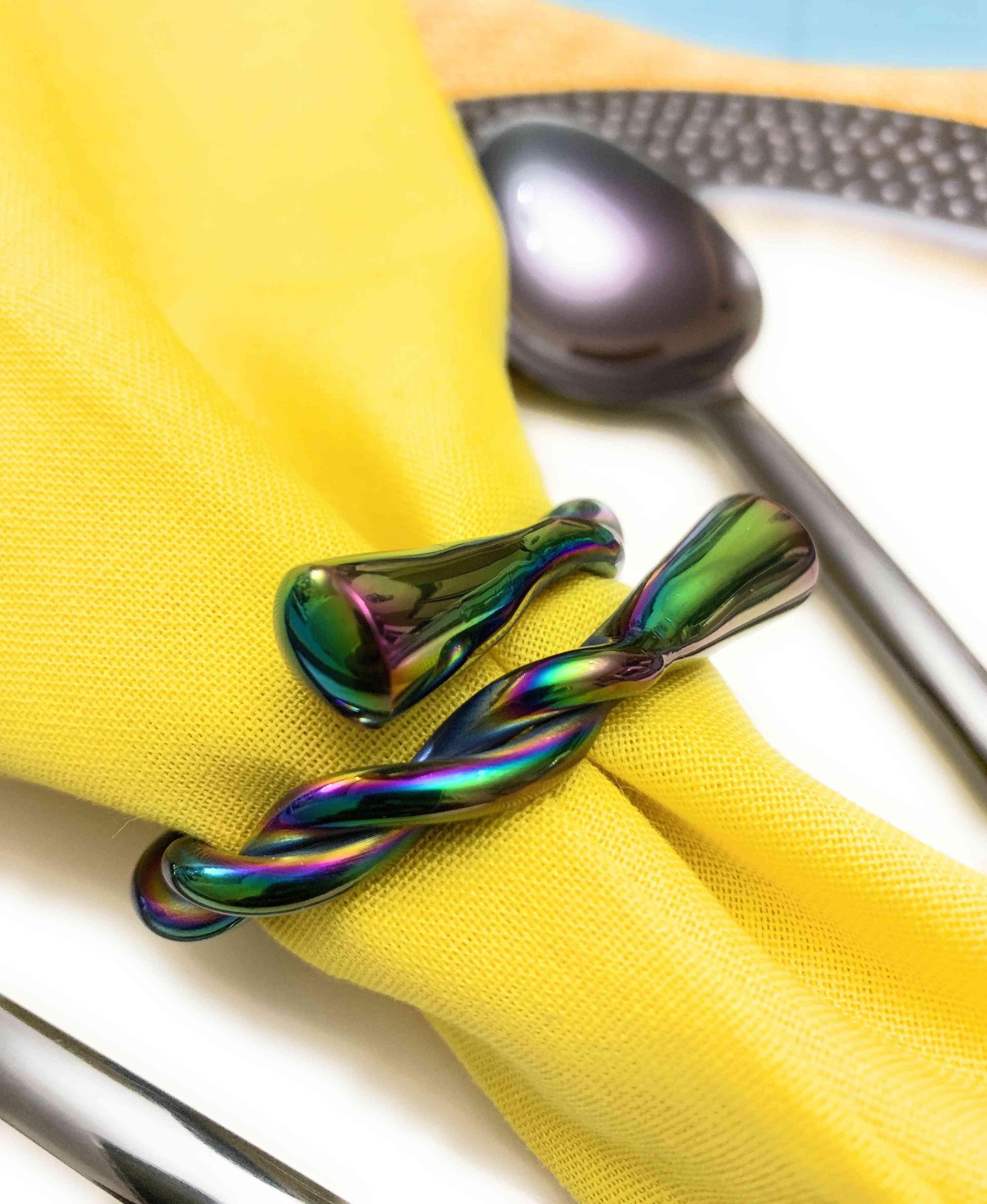 Rainbow Twist-set Of 6 Napkin Rings