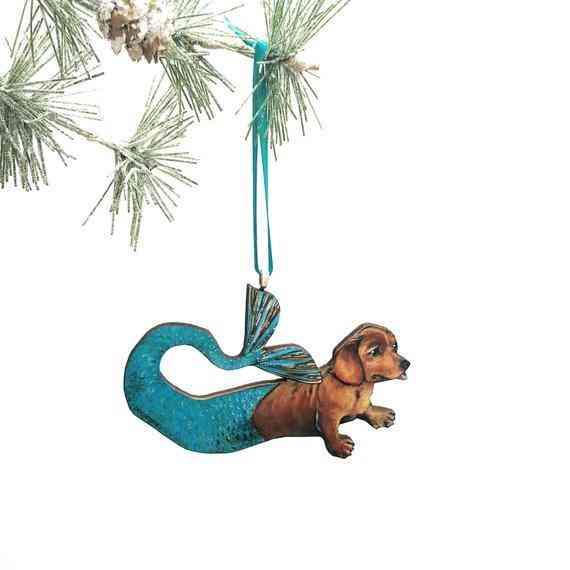 Mermaid Dachshund Holiday Ornament