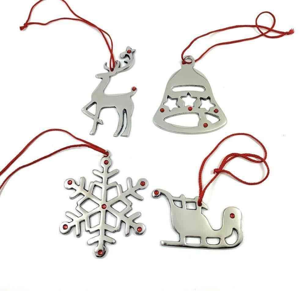 Handmade Christmas Ornaments, Set Of 8 With Red