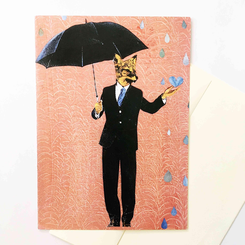 Umbrella Fox Greeting Card