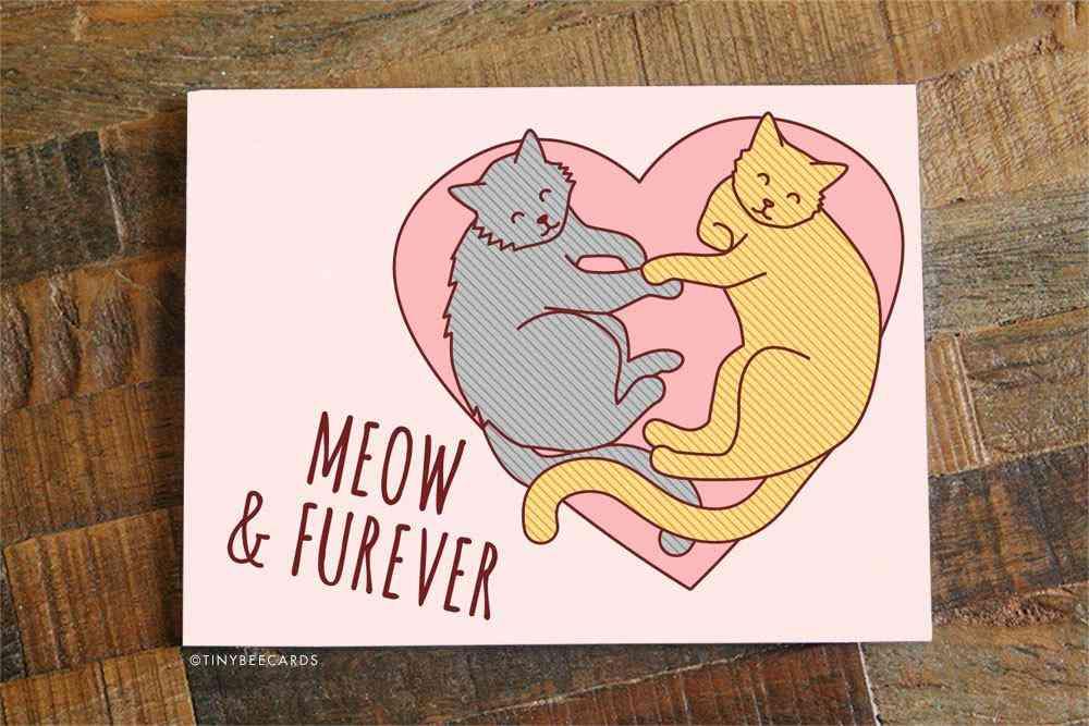 Cat I Love You Card Meow & Furever