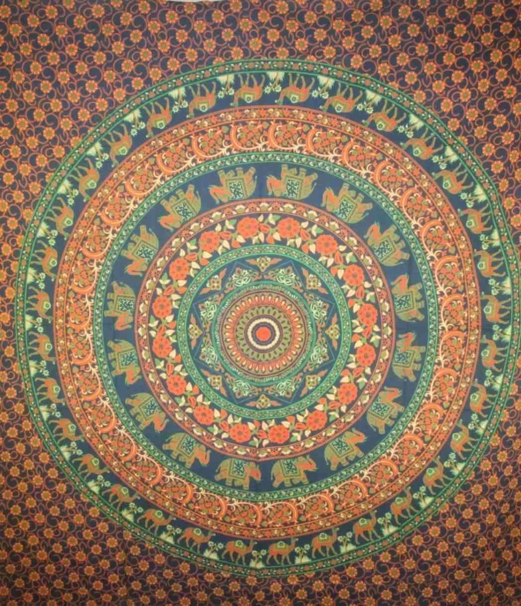 Dark Blue, Kaleidoscope, Mandala Flowers & Animals Tapestry