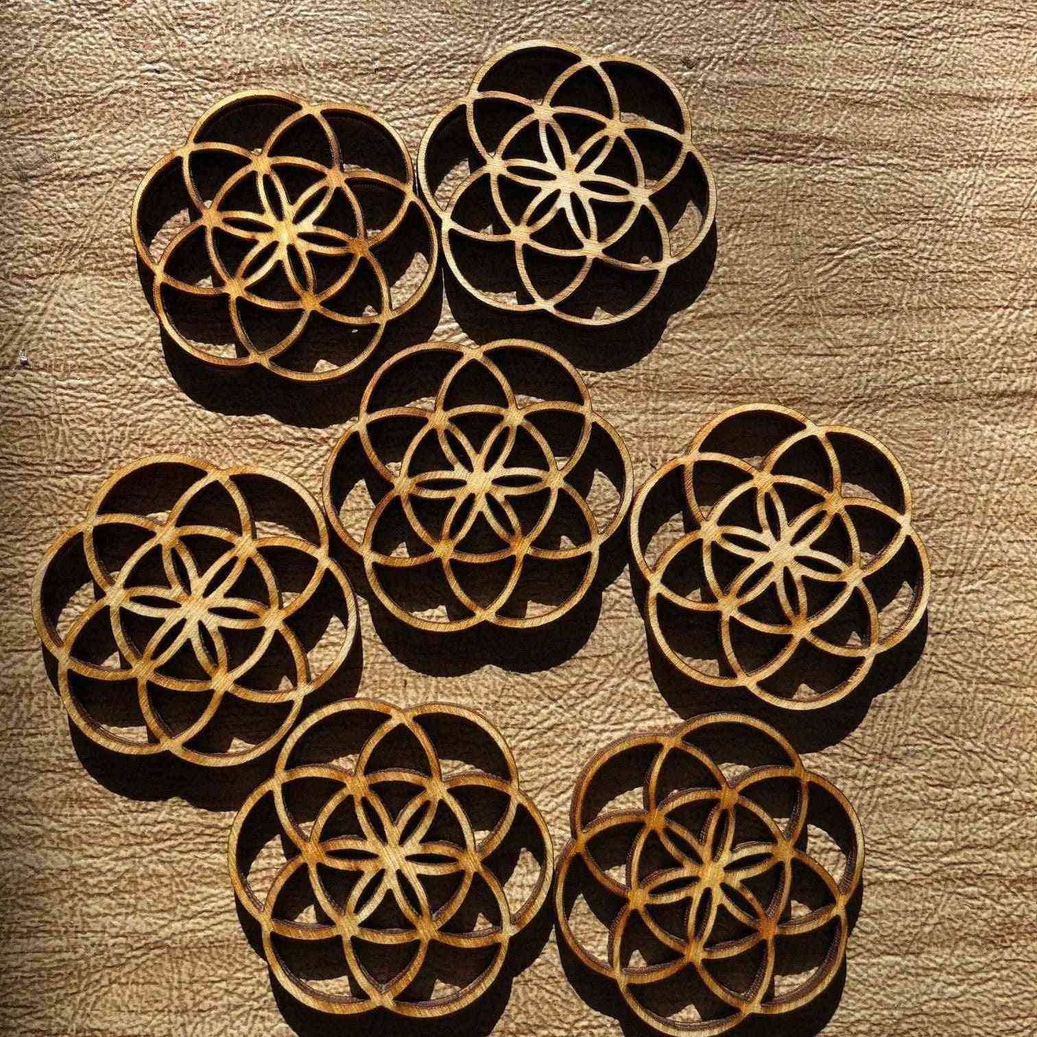 Flower Of Life - Wooden Beads To Make Earrings, Pendants, Art Pieces
