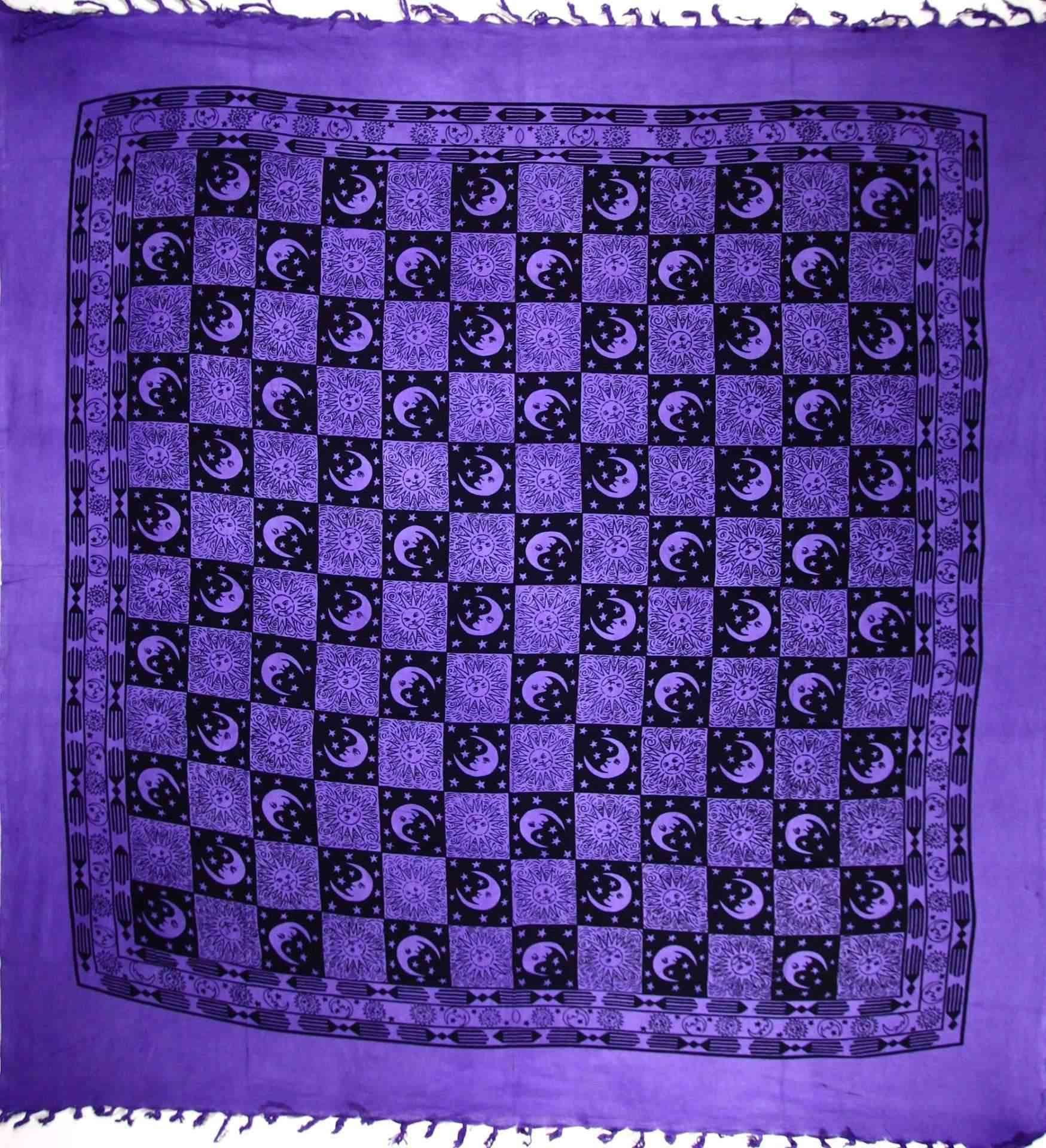 Checkered Sun & Moon With Tassels Tapestry