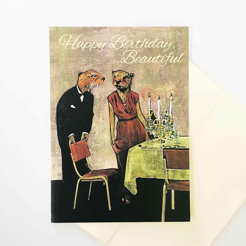 Fancy Otters Birthday Card