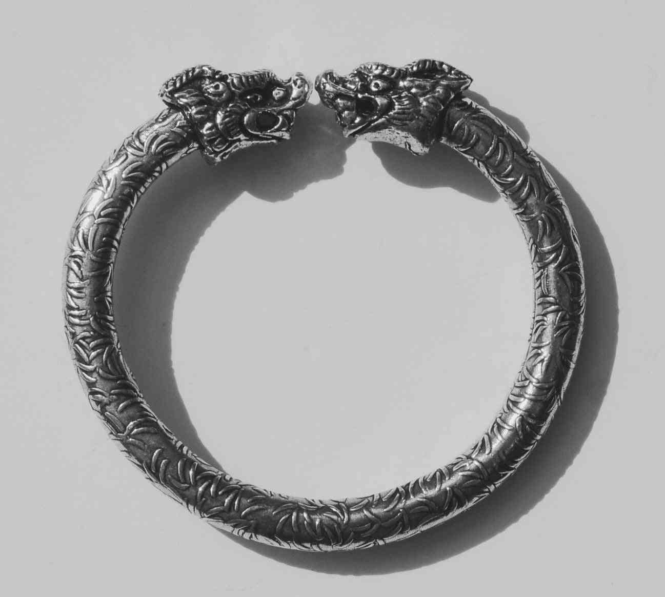 Antique Norse Bracelet With Peacock Heads & Leaf