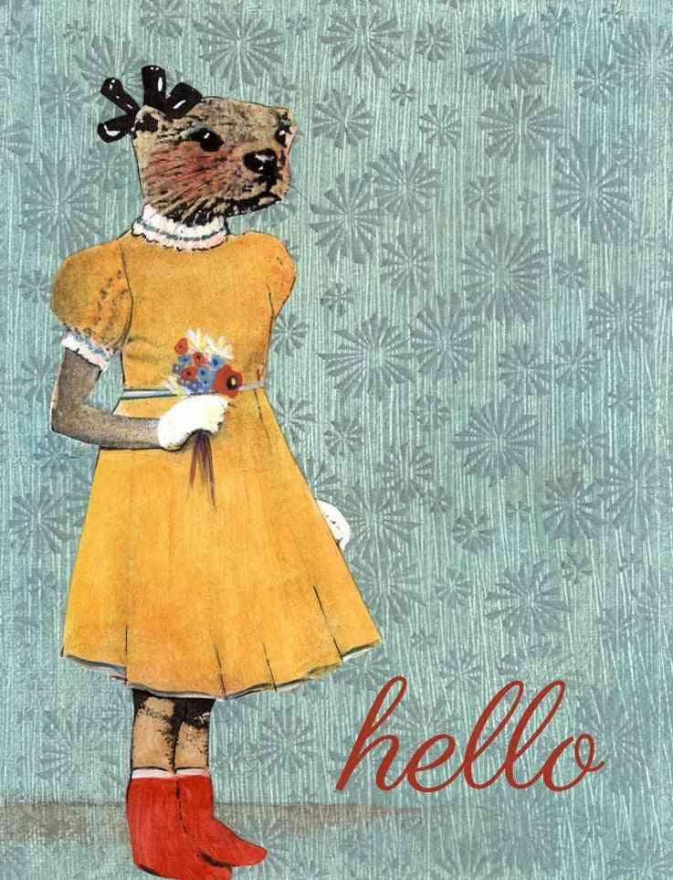 Hello Otter Girl Illustrated Card
