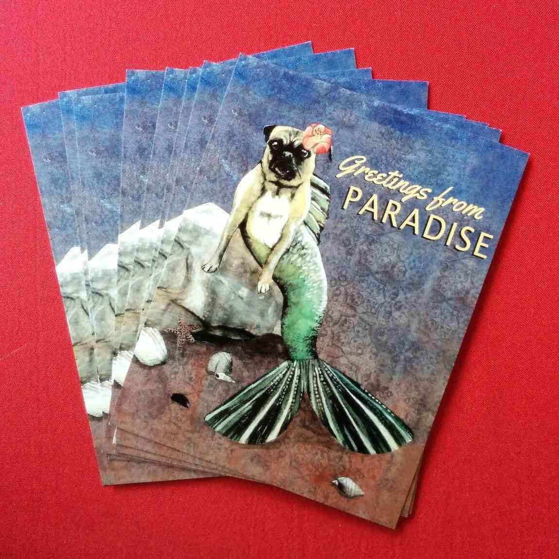 Mermaid Pug Postcard