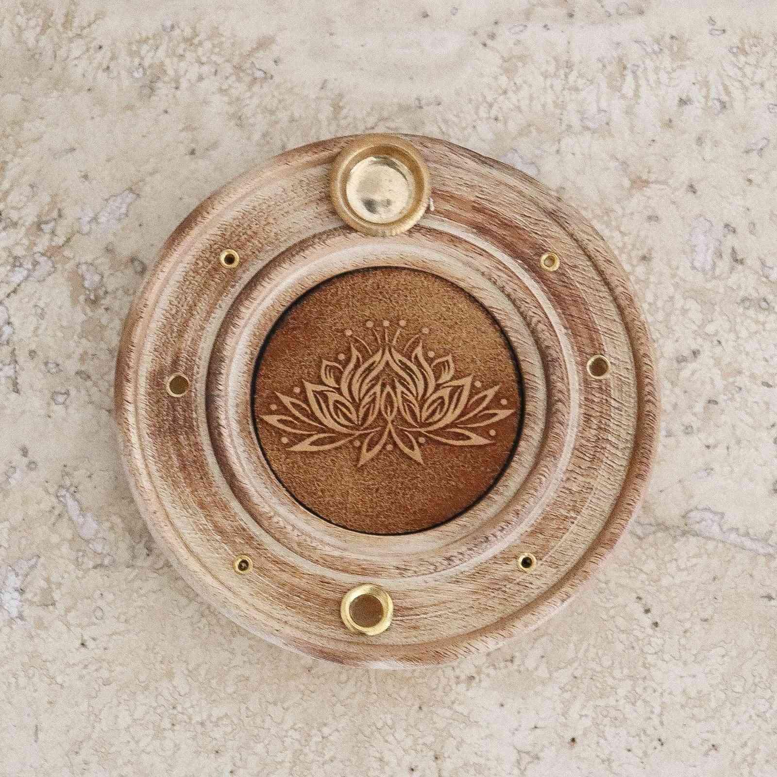 Engraved Lotus Flower - Incense Holder