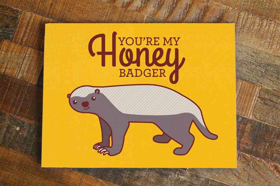 You Are My Honey Bad Bear Print Love Card