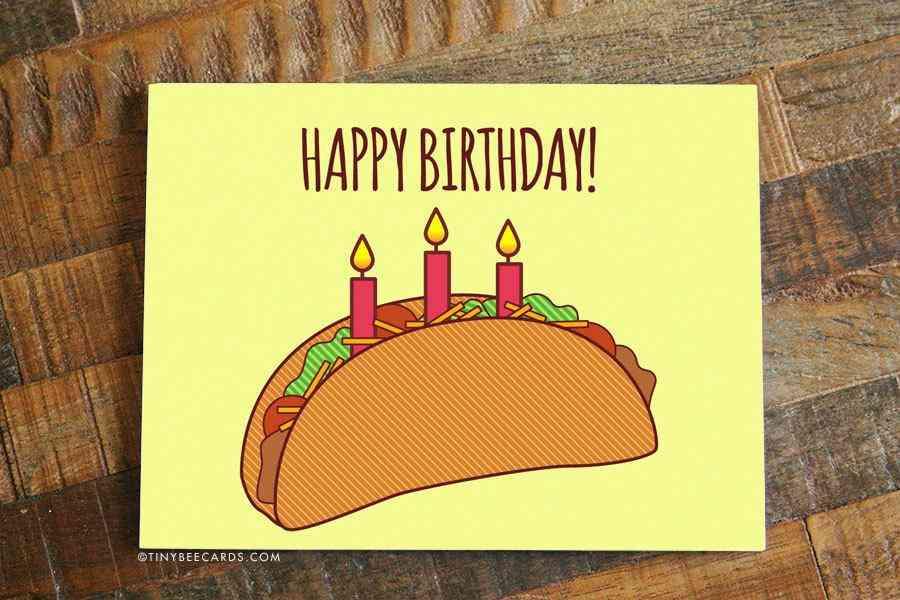 Taco Print Birthday Card