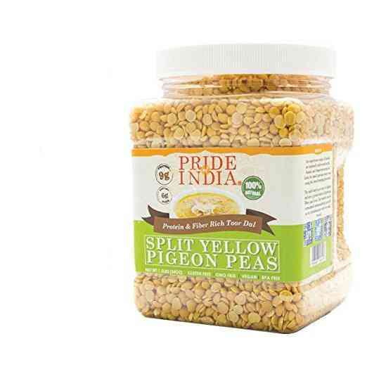 Indian Split Yellow Pigeon Peas - Protein & Fiber Rich Toor Dal Jar