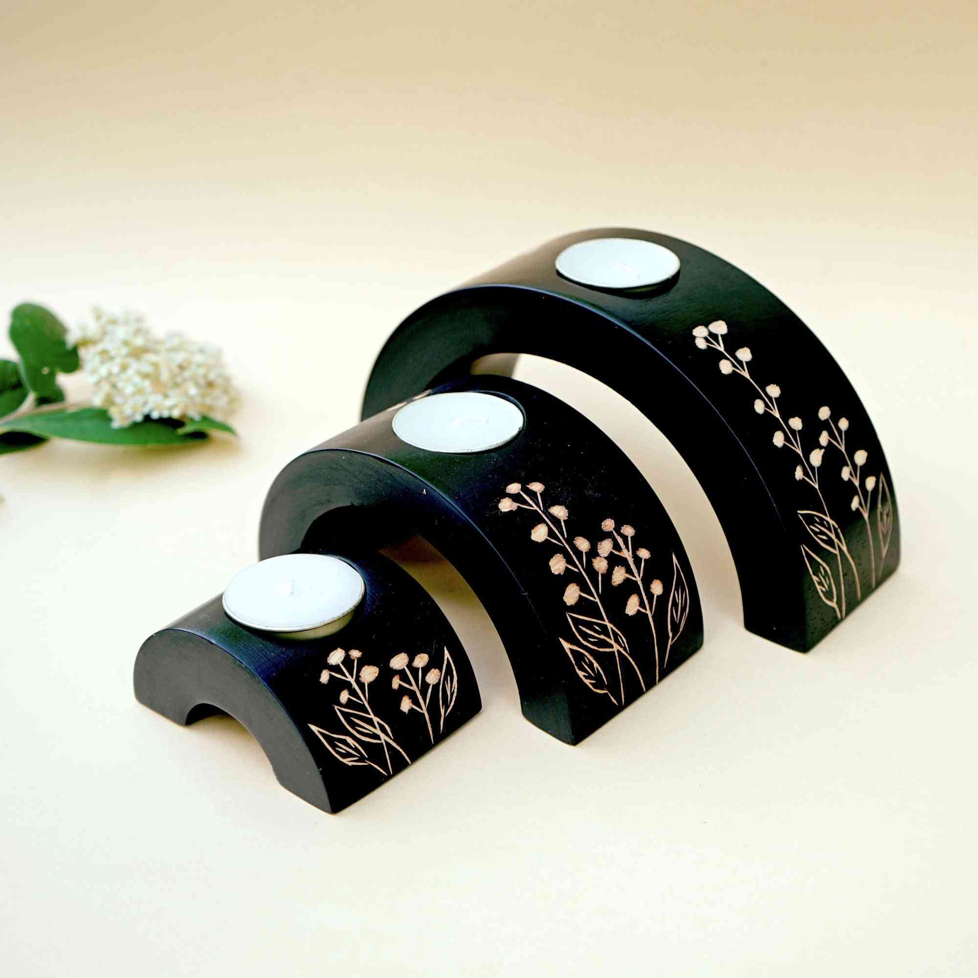 Wooden Crescent Tealight Holder Set