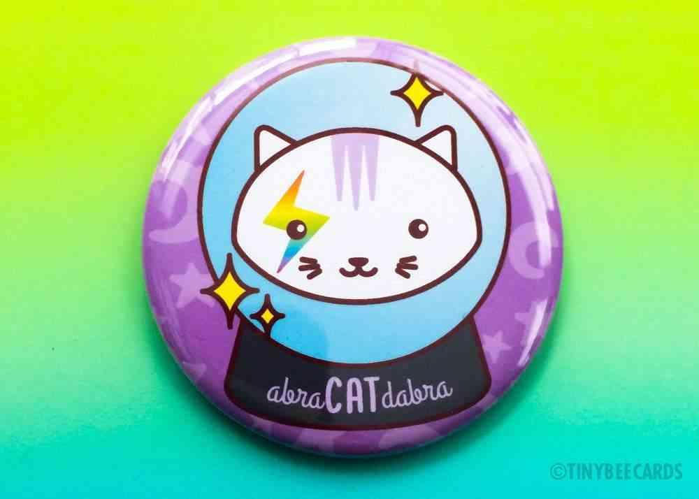 Abra-cat-dabra Magical Cat - Magnet Pin Or Mirror