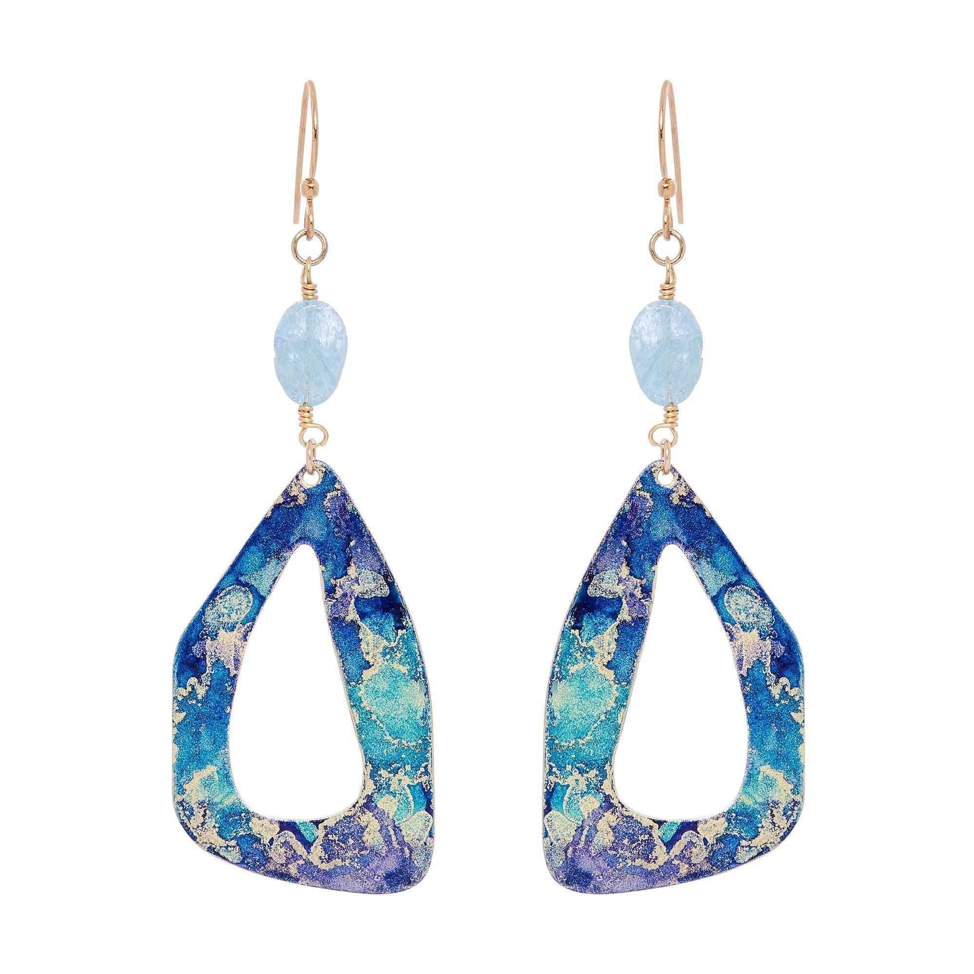 Gold Petal Aquamarine Stone Earrings