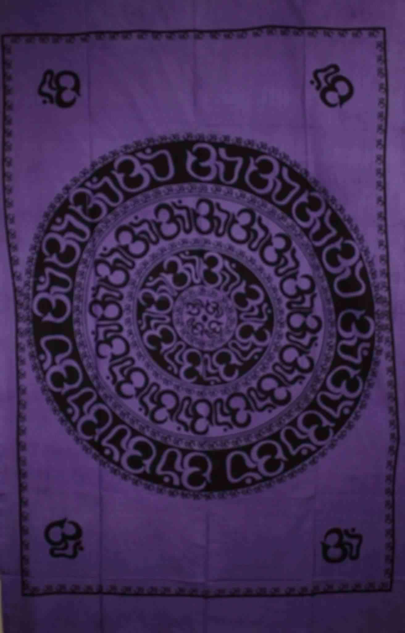 Purple Om Shanti Mandala Art-handloom Tapestry